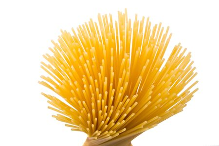rays of spaghetti on white background