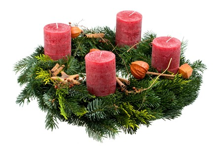 advent wreath isolated on white background Stock Photo