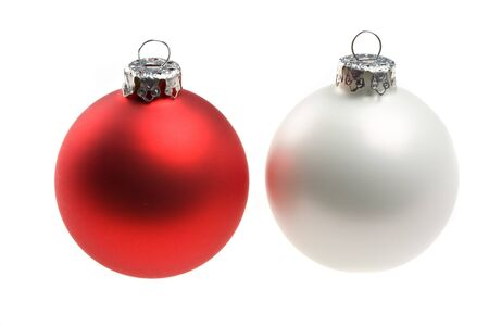 single red and white christmas baubles isolated on white Stock Photo