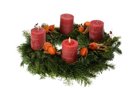 advent wreath isolated on white background photo