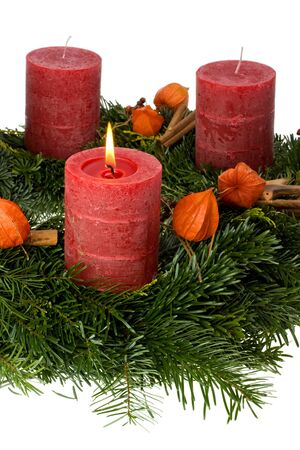 adventskranz: advent wreath isolated on white background Stock Photo