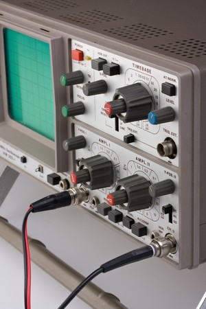 analogue: analogue oscilloscope on grey background