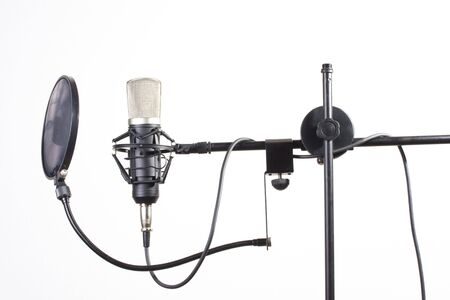 studio microphone on a stand on white background