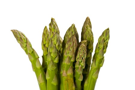 detail of fresh green asparagus isolated on white background Stock Photo