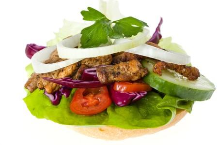 tzaziki: doner kebab sandwich isolated on white
