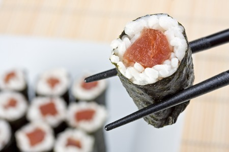 raw tunafish sushi Stock Photo