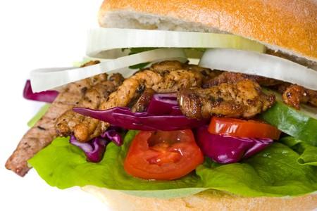 doner kebab sandwich isolated on white Stock Photo - 4363064