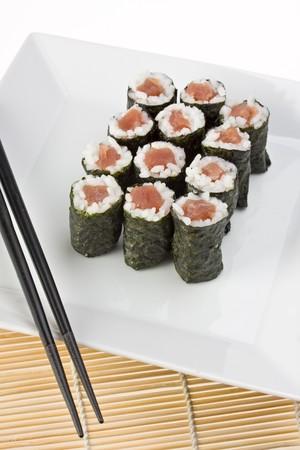 tunafish: raw tunafish sushi Stock Photo