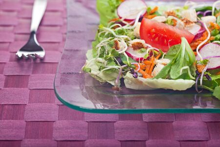mixed salad on a glass plate Stock Photo - 4895404