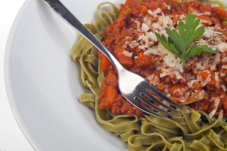 tagliatelle with sauce bolognaise in white plates Stock Photo - 4989107