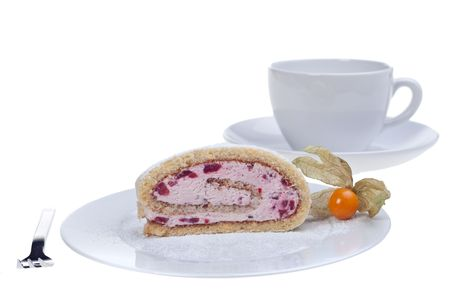 slice of a jelly roll cake on a white plate Stock Photo - 5014458