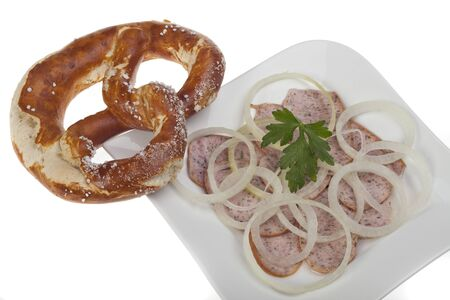 salad made of strips of sausage and onions photo