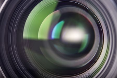 light reflections in a camera lens Stock Photo