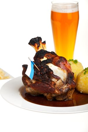 bavarian knuckle of pork isolated on white photo