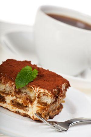 tiramisu cake with a cup of coffee Stock Photo - 6488338