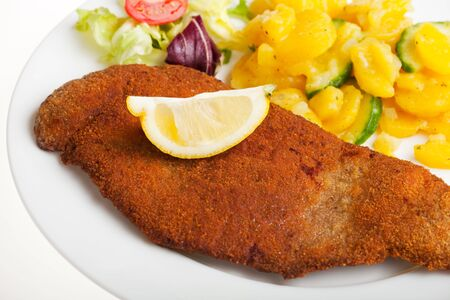 detail of a viennese schnitzel on a plate photo