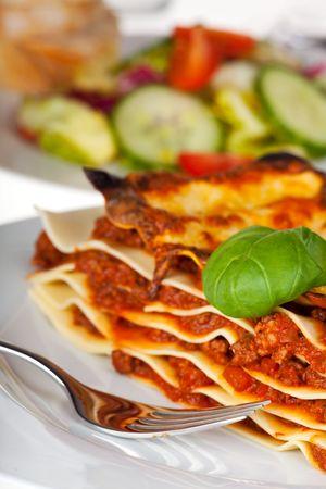 lasagna: plato de fideos de lasa�a en un plato blanco  Foto de archivo