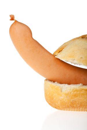 single frankfurter in a bun photo