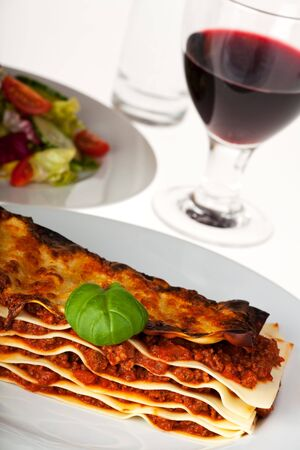 lasagna noodle dish on a white plate Stock Photo - 6608651