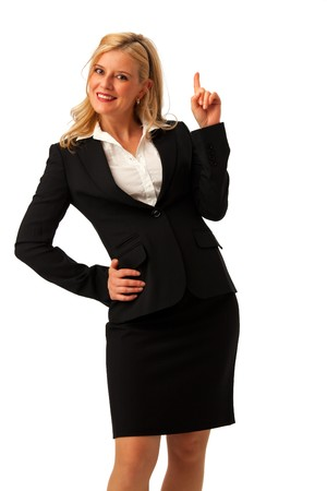 isolated business woman holding a finger up photo