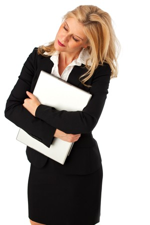 secretary skirt: business woman with a notebook computer isolated on white