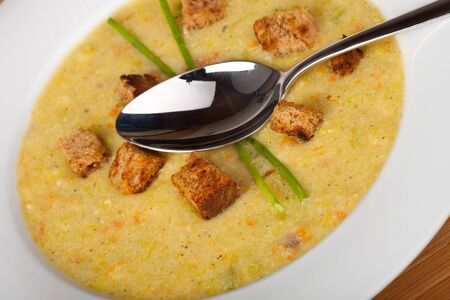 olla: potato soup with croutons and chive strands