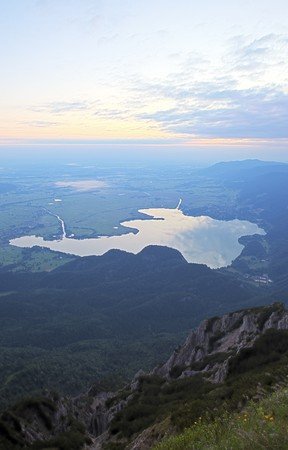 german mountain lake at sunrise photo