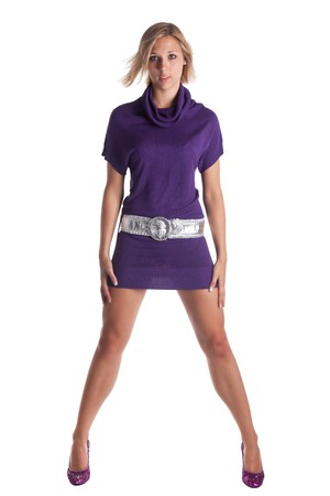 young woman standing with a purple dress Stock Photo - 7386333
