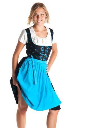 bronzy: young woman standing with a bavarian dress