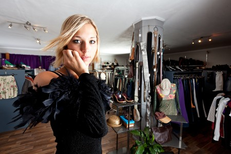 young woman in an evening gown in a shop Stock Photo - 7566953