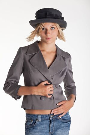 bronzy: pretty young woman with a jacket Stock Photo