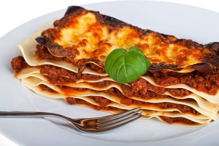 lasagna noodle dish on a white plate Stock Photo - 7673932