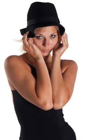 young woman in a black dress and a hat Stock Photo - 7721088
