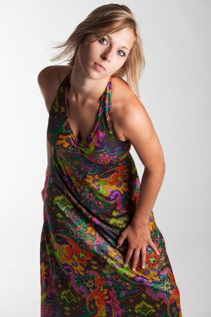 young woman in a colorful dress Stock Photo - 8053838