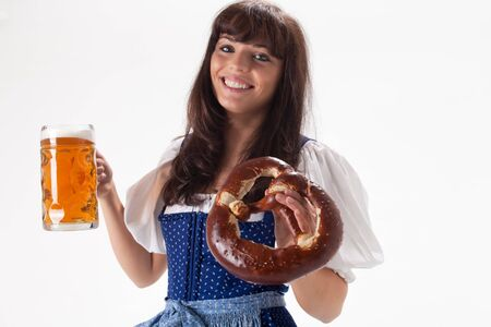 bavarian girl in a costume with beer Stock Photo - 8133207