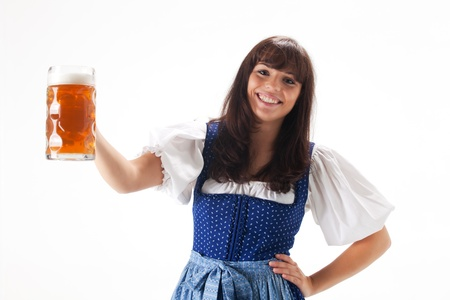 bronzy: bavarian girl in a costume with beer