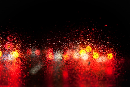 blurred car lights in the rain Stock Photo