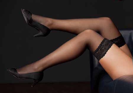 pretty legs of a woman in nylons