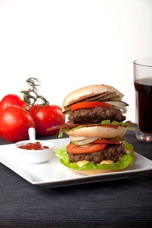 hamburger and ketchup photo