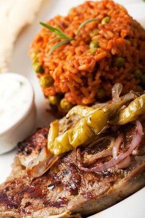 tzaziki: grilled lamb and djuvec rice