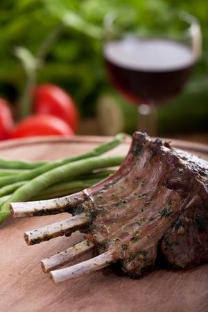mutton chops: closeup of grilled lamb chops
