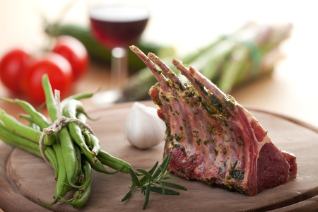 rack of lamb: closeup of raw lamb chops