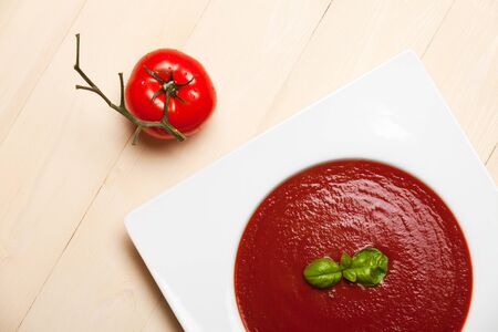 closeup of fresh tomato soup photo