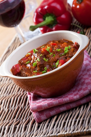 goulash: hungarian goulash in a bowl Stock Photo