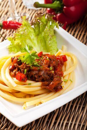 hungarian: hungarian goulash with macaroni pasta