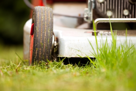 lawn mowing: detail of a lawn-mower outdoor  Stock Photo