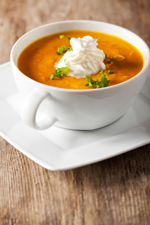pumpkin soup: pumpkin soup in a bowl Stock Photo