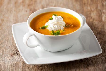 pumpkin soup in a bowl Stock Photo