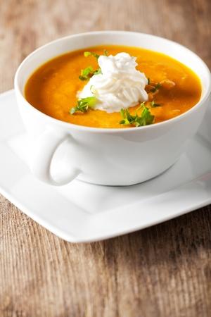 pumpkin soup: pumpkin soup in a bowl Stock Photo