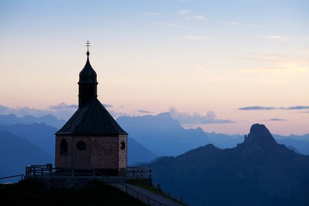 mountain chapel on wallberg at sunset Stock Photo - 10669159